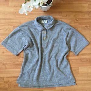 Chanel • Boutique Gray Short Sleeve Polo Blouse